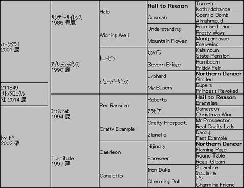 サトノクロニクル5代血統表