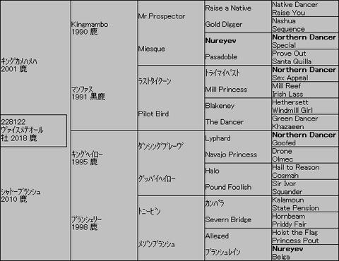 ヴァイスメテオール5代血統表