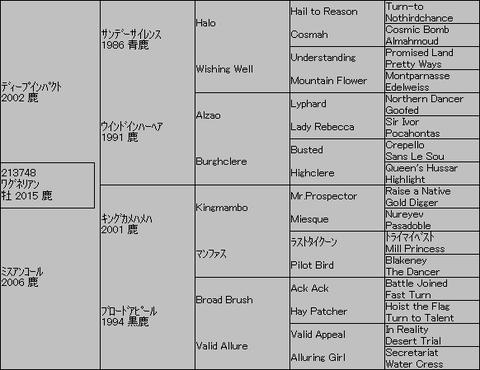 ワグネリアン5代血統表