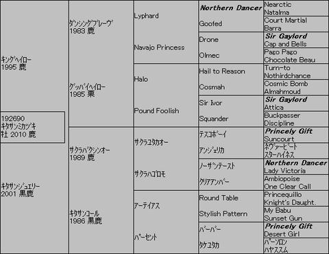キタサンミカヅキ5代血統表
