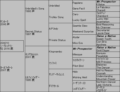 シークレットラン5代血統表