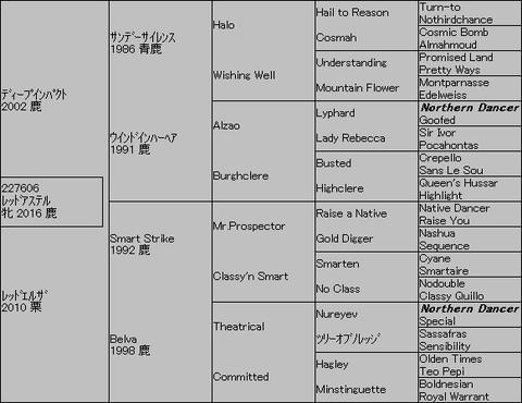 レッドアステル5代血統表