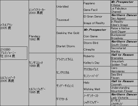 ブレスジャーニー5代血統表