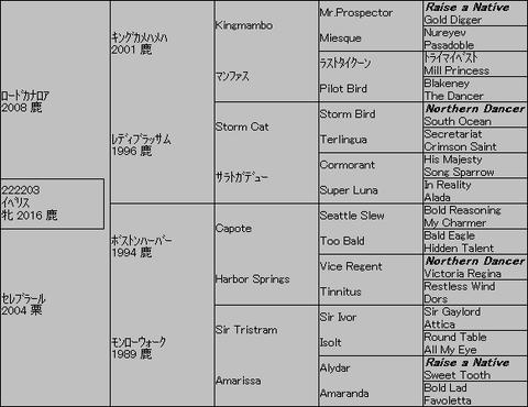 イベリス5代血統表