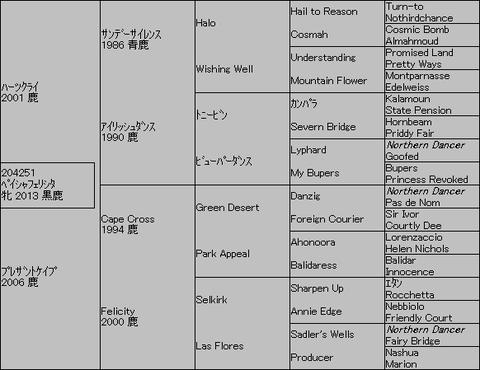 ペイシャフェリシタ5代血統表