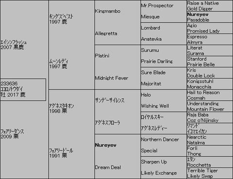 ココロノトウダイ5代血統表