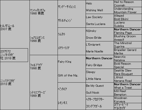 ニシノオイカゼ5代血統表