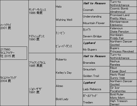 タイムフライヤー5代血統表