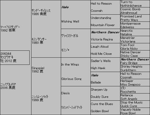 タツゴウゲキ5代血統表