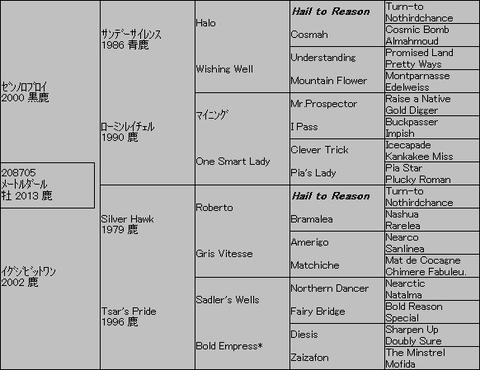 メートルダール5代血統表
