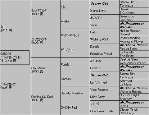 バラッドローズ=ネロ5代血統表