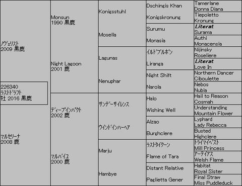 ラストドラフト5代血統表