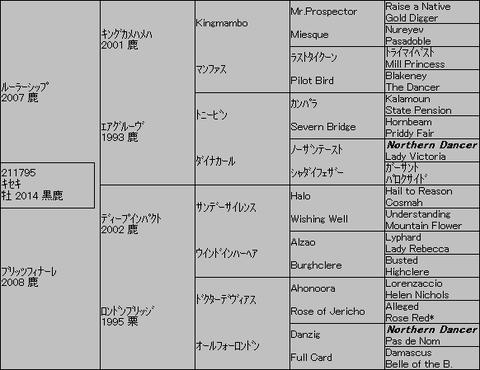 キセキ5代血統表