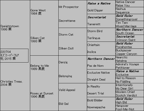 モズスーパーフレア5代血統表