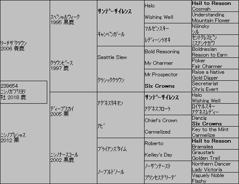 ニシノガブリヨリ5代血統表