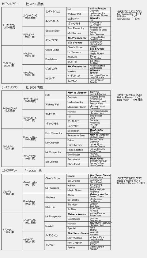 セイウンカイザー6代血統表