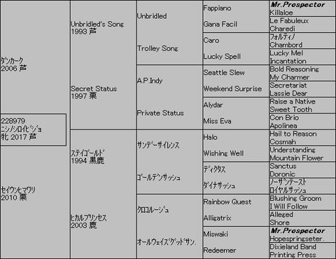 ニシノシロイビジョ5代血統表