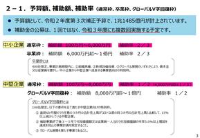 事業再構築補助金(予算額、補助額、補助率)