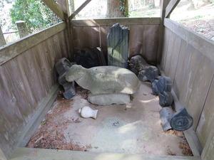 3沼口若八幡石碑と牛
