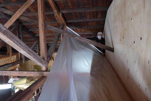 ひたラボ(旧日田時報社)リノベーション・ワークショップもいよいよ漆喰壁塗りへ!(その2)下地作成補足と養生マスキング