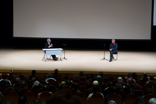 グランツたけた廉太郎ホールにて、隈研吾さんと首藤竹田市長さん
