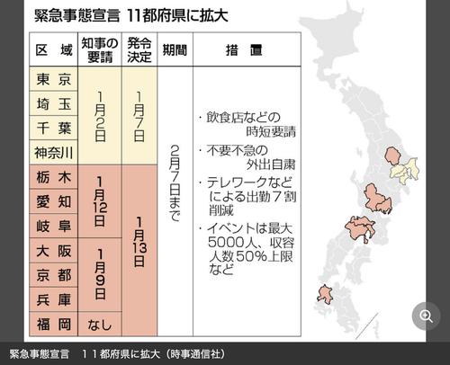 2021年1月13日(水)福岡も緊急事態宣言発出!