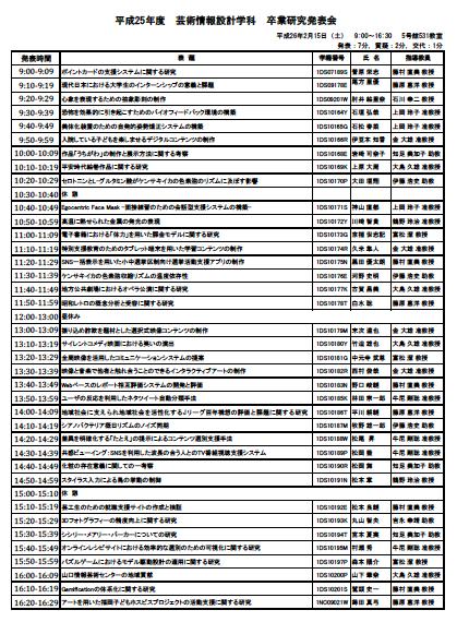 芸術情報設計学科の卒業研究発表会が迫る!!