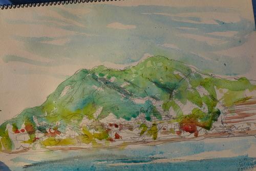 香椎浜を描きながら