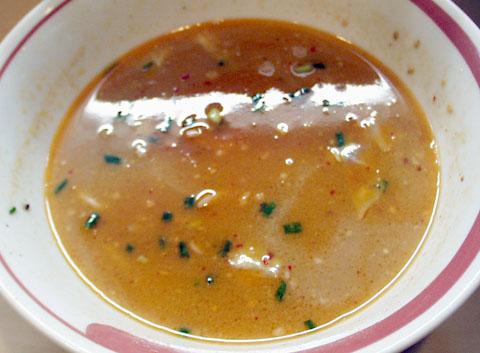夜のつけ麺のスープ割り@みの麺多