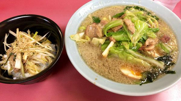キャベツラーメン+ネギ丼