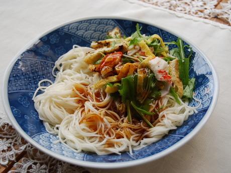 野菜と素麺(あんかけ)