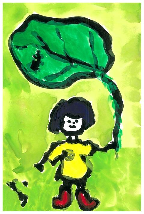 里芋の葉の女の子