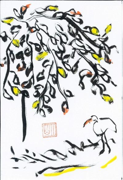 白鷺と秋の木