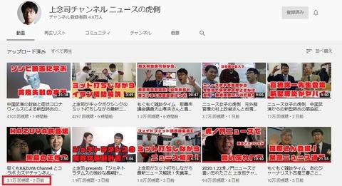 2020.01.26 上念司チャンネルの再生数