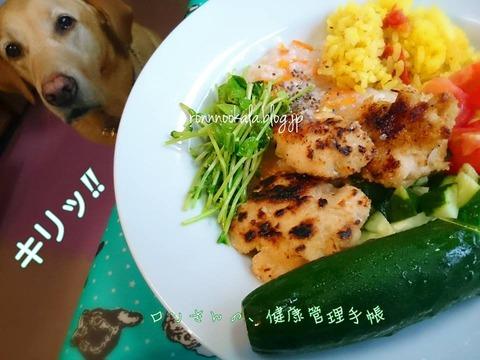 20150829 1ロンご飯 鶏肉 焦げた2