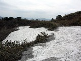 道後山には雪が残ってました