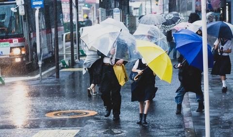台風で突風が吹く駅前と必死に傘をさす人々の写真