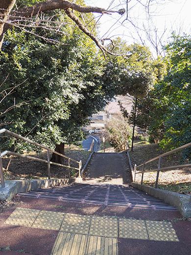 聖蹟桜ヶ丘の天守台(関戸城跡)の階段と坂道3