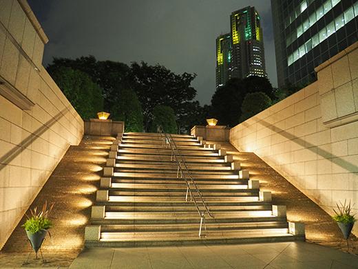 ブラジル色の都庁と階段夜景1