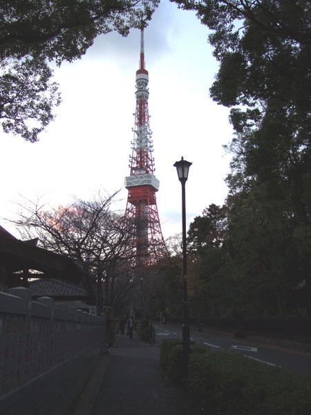 東京タワーの見える道