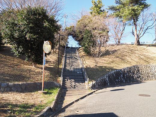 聖蹟桜ヶ丘の天守台(関戸城跡)の階段と坂道5