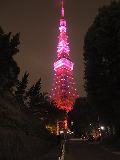 ピンクリボンライトアップ@東京タワーと坂道1