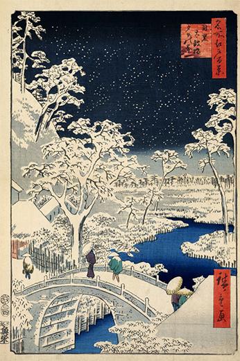 浮世絵-目黒太鼓橋