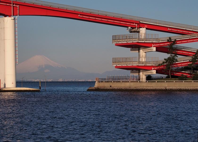 8.中島大橋越の富士