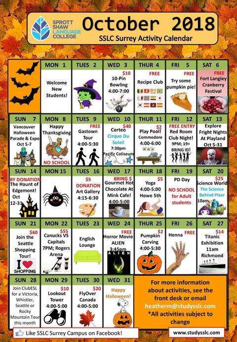 SSLC-surrey-october-2018-activities