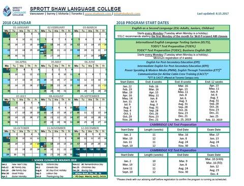 2018 SSLC Calendar