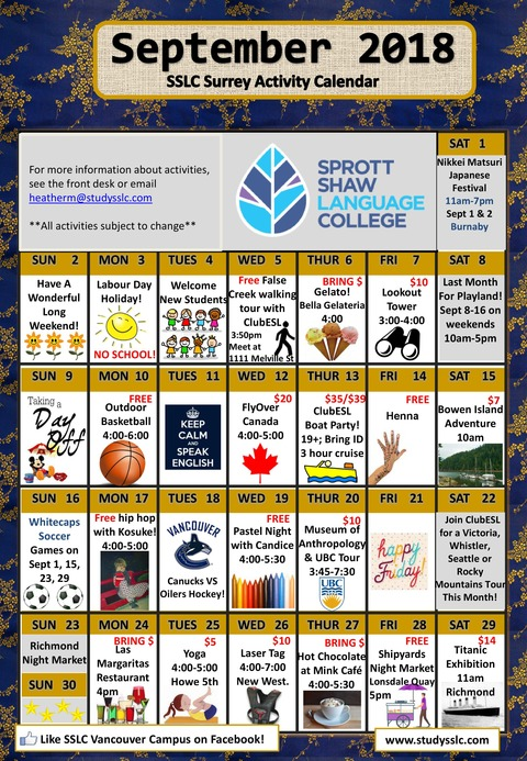 SSLC_Surrey_Activity_Calendar_09_2018