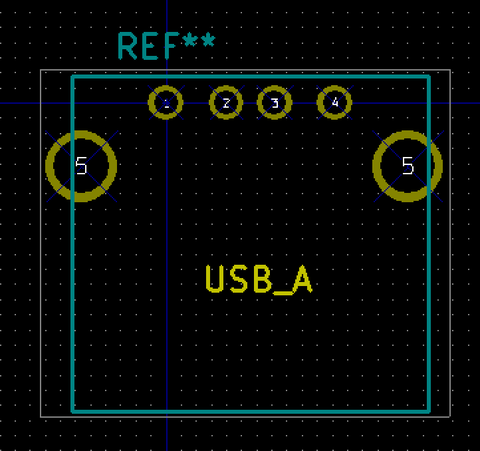 USBコネクタフットプリント変更前