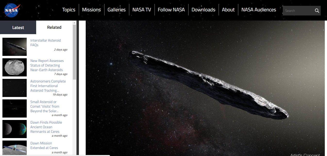 ウンコのような形の小惑星が太陽系外から飛来! NASA発表「私たちの太陽系付近には見られない形で、遠くの星系からの訪問者」