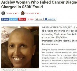 38歳の女、ニセのがん闘病写真で寄付金5万ドル超を集め逮捕……頭髪と眉毛はないのにまつ毛は生えている写真を公開